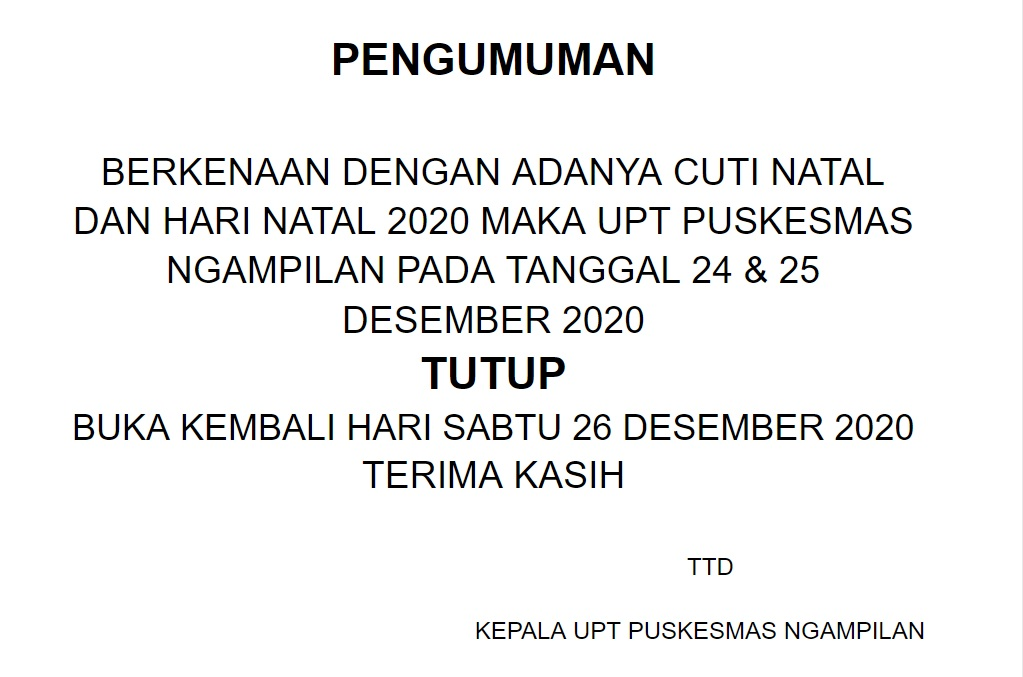 Libur cuti bersama & hari natal 2020