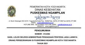 Pengumuman Hasil Seleksi Administrasi Pengadaan Penyedia Jasa Lainnya Orang Perseorangan UPT Puskesmas Ngampilan Tahun 2021