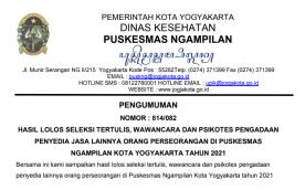 Pengumuman Lolos Seleksi Ujian Tertulis, Wawancara dan Psikotes Pengadaan Penyedia Jasa Lainnya Orang Perseorangan