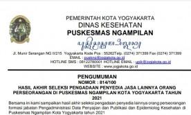 Pengumuman Hasil Akhir Lowongan Pengadaan  Penyedia Jasa Lainnya Orang Perseorangan UPT Puskesmas Ngampilan Tahun 2021